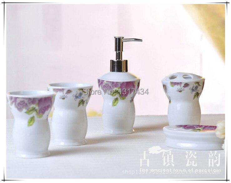 Five piece ceramic bathroom set toiletries toothbrush for Bathroom accessories shampoo holder