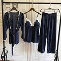 Satin Pajamas for Women Elegant 3Pieces Sleepwear Female Sexy Lace At All Seasons Silk Pajamas Set Coat+Vest+Pants 2018 Pijama