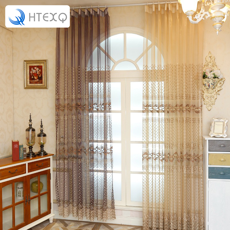 Free Shipping Tulle Voile Door Window Curtains Living Room Bedroom Embroidery Style Lace Curtain Transpa In From Home Garden