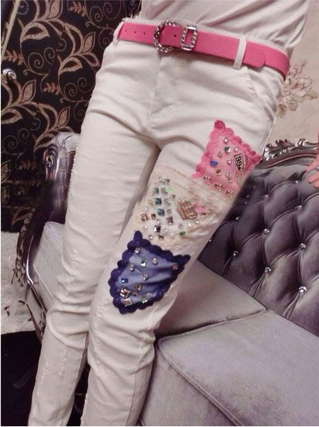 ФОТО High quality brand women stretch jeans pencil pants diamonds hole patches white skinny pants casual denim pants trousers