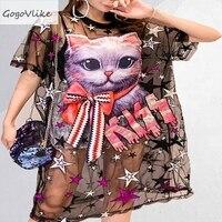 Cute See Through Sequins Cat Black dresses Mesh Women Dress Summer 2019 Plus Size dresses patchwork Designer Vestidos SA115S50