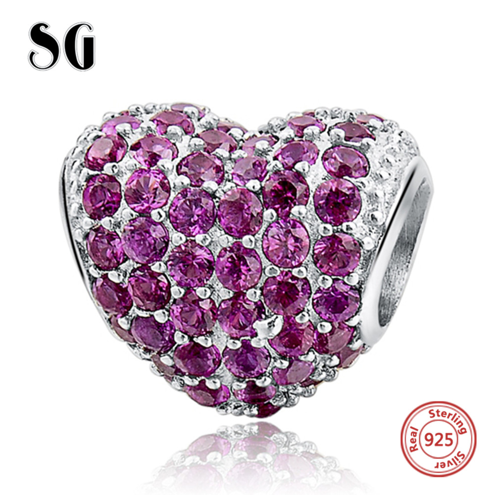 Silver Galaxy Charms Fancy Beads Purple CZ Fits pandora Bracelets 925 Sterling Jewelry for Women DIY Making Accessories