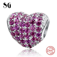 Silver Galaxy Charms Fancy Beads Purple CZ Fits pandora Bracelets 925 Sterling Silver Jewelry for Women DIY Making Accessories fits pandora reflexions bracelets charms 925 sterling silver with clear cz timeless sparkle clip beads for women jewelry diy