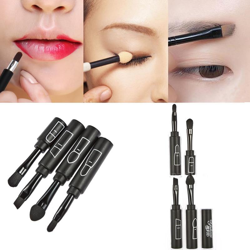 Nice 4 In 1 Professional Makeup Brushes Set Shadow Brush Lip Brush Angled Brow Brush Smudger Women Makeup Brush Set