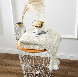 Image 2 - CAMMITEVER Baumwolle Decke Winter Warme Heimgebrauch Decken für Erwachsene Europäischen Gehäkelte Decke für Bett Sofa Werfen Teppich