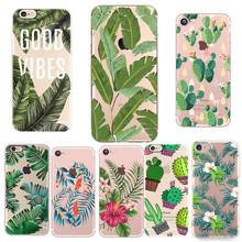 For Coque iphone X 8 7 Case Silicone Soft TPU Cactus Flower Leaf Green Phone Cases For iphone 7 8 Plus X 10 5 5s se Case Cover цена