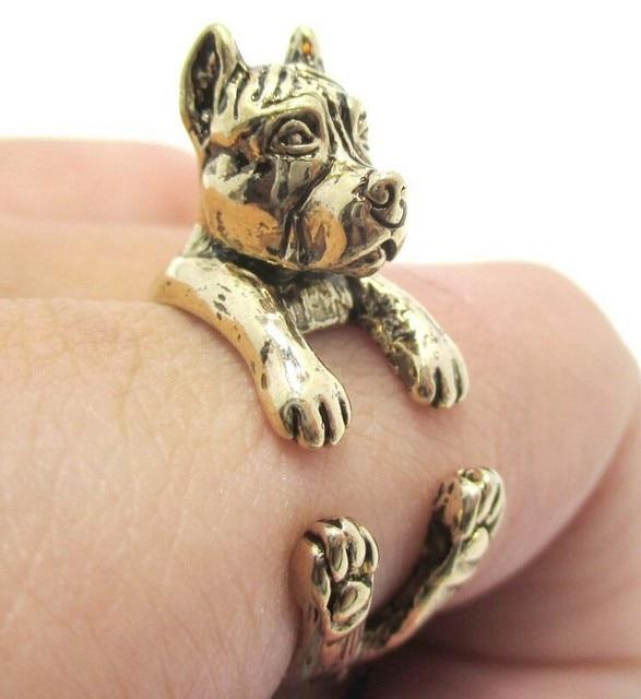 Фото кольцо в стиле ретро американское кольцо питбуля терьера хиппи цена