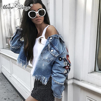 MIAOQING Autumn 2018 denim coats and jackets jeans women vintage patchwork tassel embroidery flowers crop tops streetwear coats