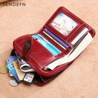 Sendefn Hollow Out Wallet Short Wallet Leather Vintage Women S Purse Zipper Button Purse Red Small