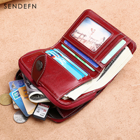 Sendefn Hollow Out Wallet Short Wallet Leather Vintage Women S Purse Zipper Button Purse Red Small