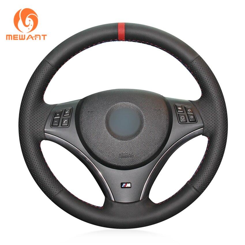 цена на MEWANT Black Genuine Leather Car Steering Wheel Cover for BMW E90 325i 330i 335i E87 120i 130i 120d