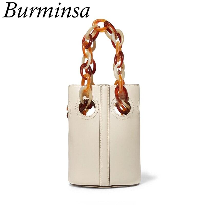 Burmina été en cuir véritable Mini sacs seau mode acrylique chaîne sangle femmes sacs à bandoulière fille sacs à bandoulière jaune Beige