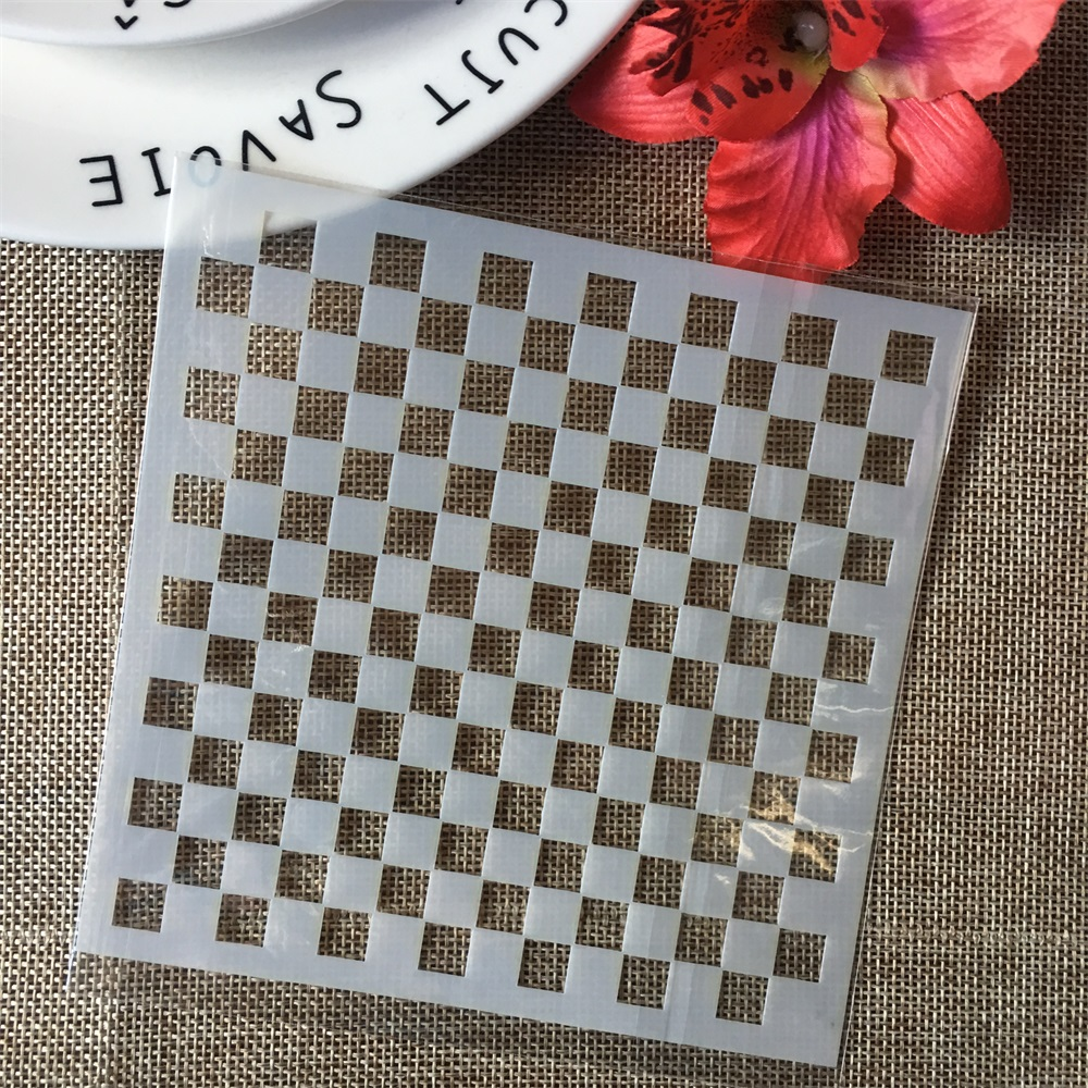 "5"" Block Grid Chess Board DIY Layering Stencils Wall Painting Scrapbook Coloring Embossing Album Decorative Paper Card Template"