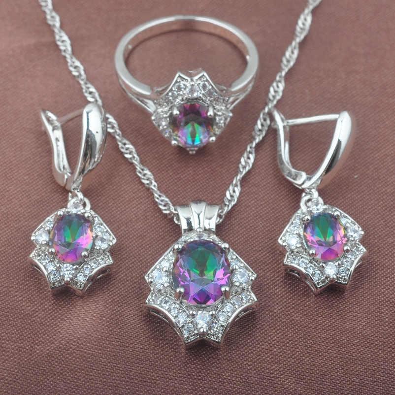 Mystic Regenbogen Feuer Australischen Kristall 925 Silber Schmuck Set Für Frauen Hochzeit Schmuck Ohrringe/Anhänger/Halskette/Ringe TZ0579
