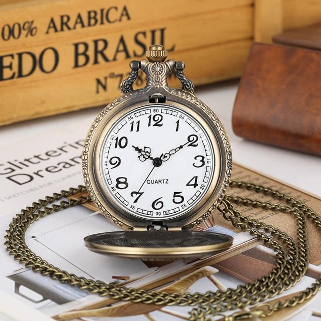 Men's Special Monkey King Pattern Thin Link Chain Pendant Watch Vintage Bronze Quartz Pocket Watch Stylish Necklace Pocket Watch