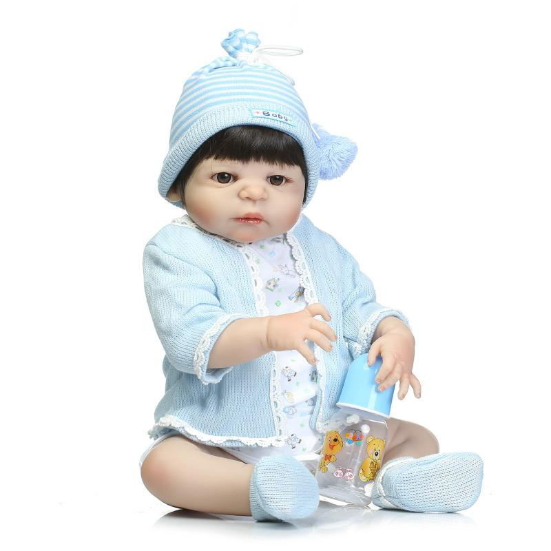 Lifelike reborn dolls 22 reborn baby boy doll for children xmas gift bebe alive bonecas reborn de silicone inteiro short curl hair lifelike reborn toddler dolls with 20inch baby doll clothes hot welcome lifelike baby dolls for children as gift