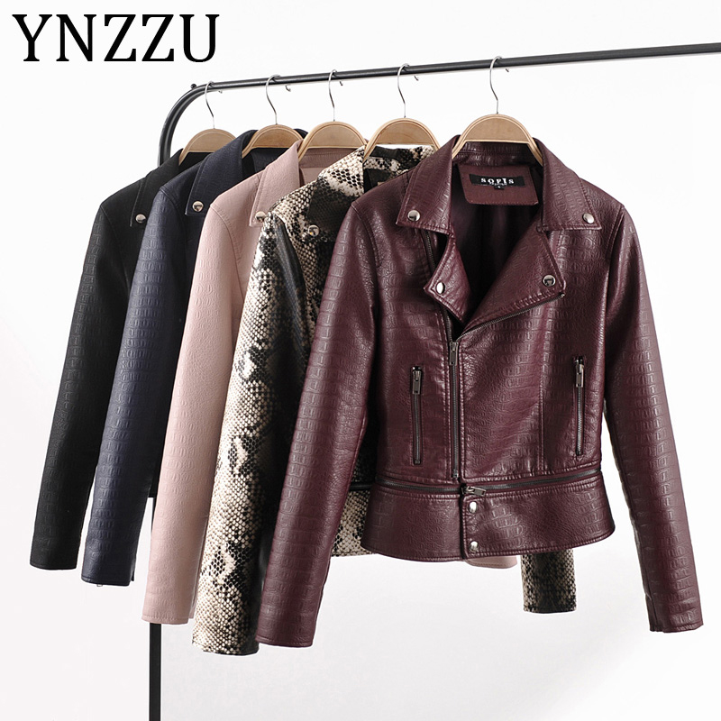 YNZZU 2019 Autumn Winter Street Women's Washed PU   Leather   Jacket Zipper Elegant Ladies Basic Jackets Lower Edge Detachable A1028
