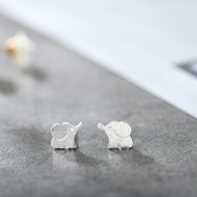 Flyleaf 925 Sterling Silver Lovely Personality Elephant Stud Earrings For Women Creative Lady Fashion Jewelry in Stud Earrings from Jewelry Accessories