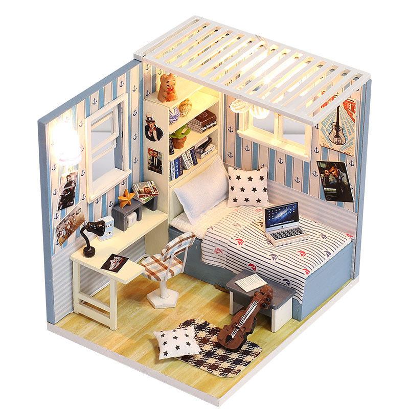 Miniature Blue Boys Room Dollhouse With LED Lights Furniture Kits DIY Wooden Dolls House Handmade Puzzle Gift