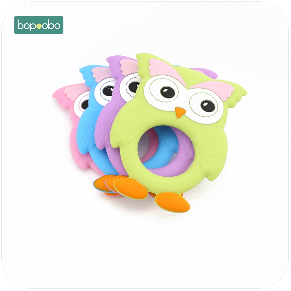 Bopoobo Food Grade Silicone Teether Animal Owl Teething Baby Accessory Non-toxic Ecofriendly DIY Pendant Charms Wholesale
