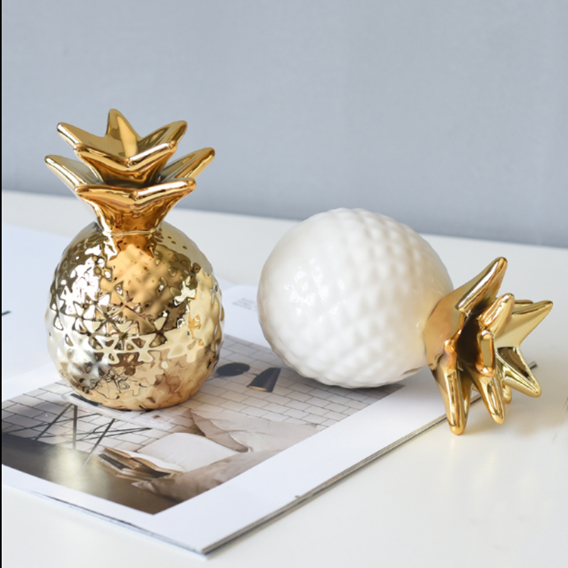 Nordic gold pineapple ins decoration living room furnishings interior cute wine cabinet jewelry Home decor party ornaments craft in Figurines Miniatures from Home Garden