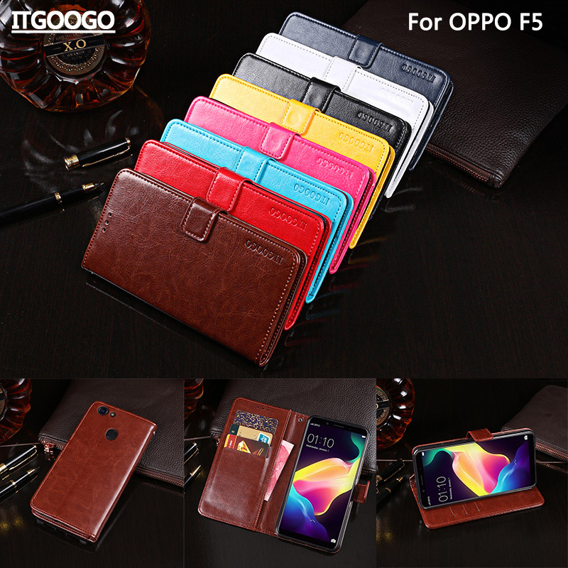 Itgoogo For OPPO F5 Case Cover 6.0 Hight Quality Flip Leather Case For OPPO F5 Cover Phone bag Wallet Case
