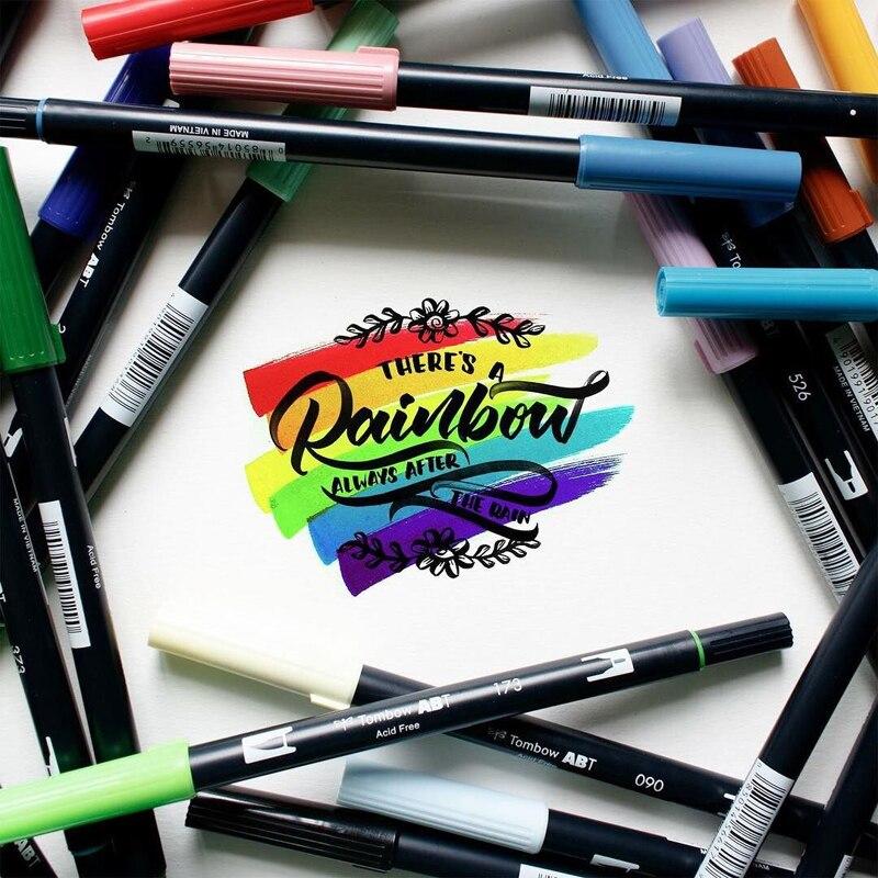 Japan TOMBOW 96 colors double heads art brush set pen marker profession water marker pen painting