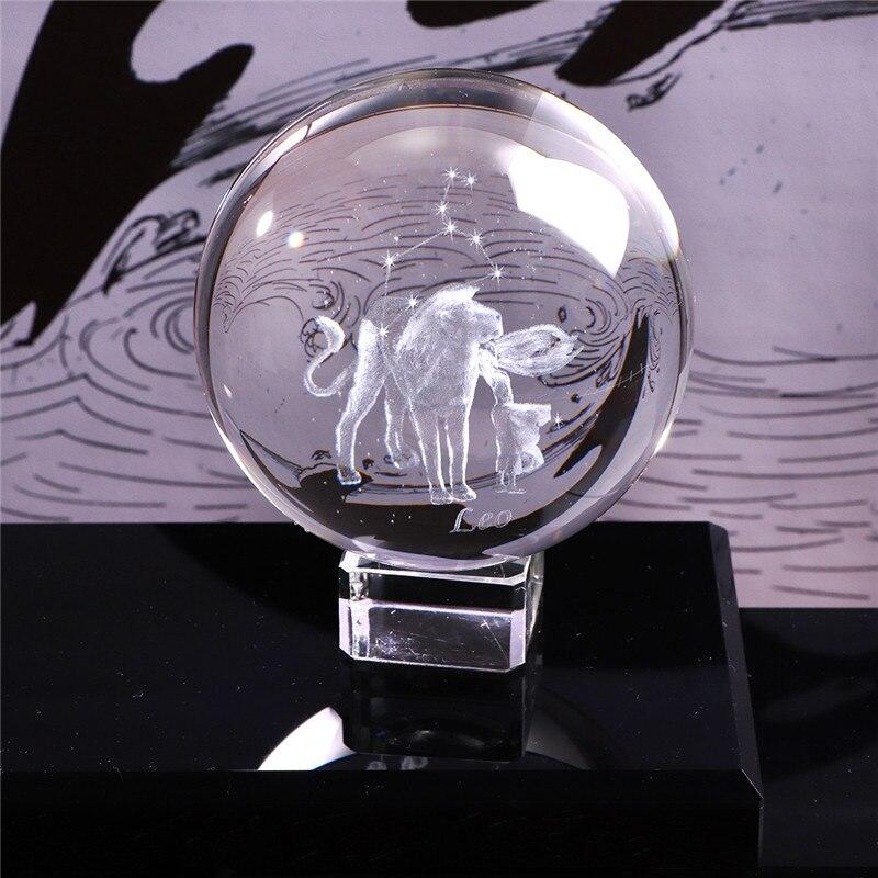 60 MM 3D Zodiac Sign Krystal Ball Miniature Laser Engraved Glass Sphere Crystal Craft Home Decor Birthday Gift Ornament