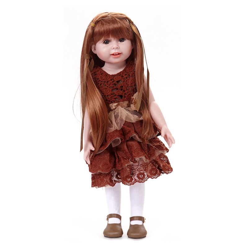 New design 18 inch American Girl Doll With Beautiful Clothes And Shoes Reborn Full Vinyl Silicone Girl Doll Realistic Baby Toys american girl doll clothes ears and tail tiger leopard sets doll clothes with shoes free for 16 18 inch dolls 3 colors mg 262