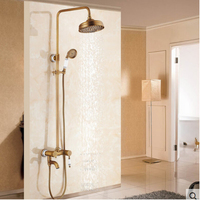 Wholesale And Retail Antique Brass 8 Round Shower Head Blue And White Porcelain Handle Rainfall Shower