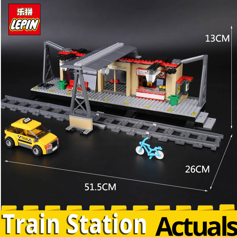 Lepin 02015 City Trains Series Train Station with Rail track Taxi 456Pcs Building Block Model 60050 Toys for Kid Child Brick DIY ...