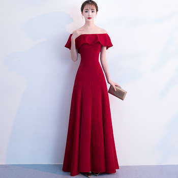 Hot Sale Women Slim Cheongsam Chinese Bridesmaid Red Wedding Dress Noble Full Length Toast Clothing Evening Party Dresses Gowns