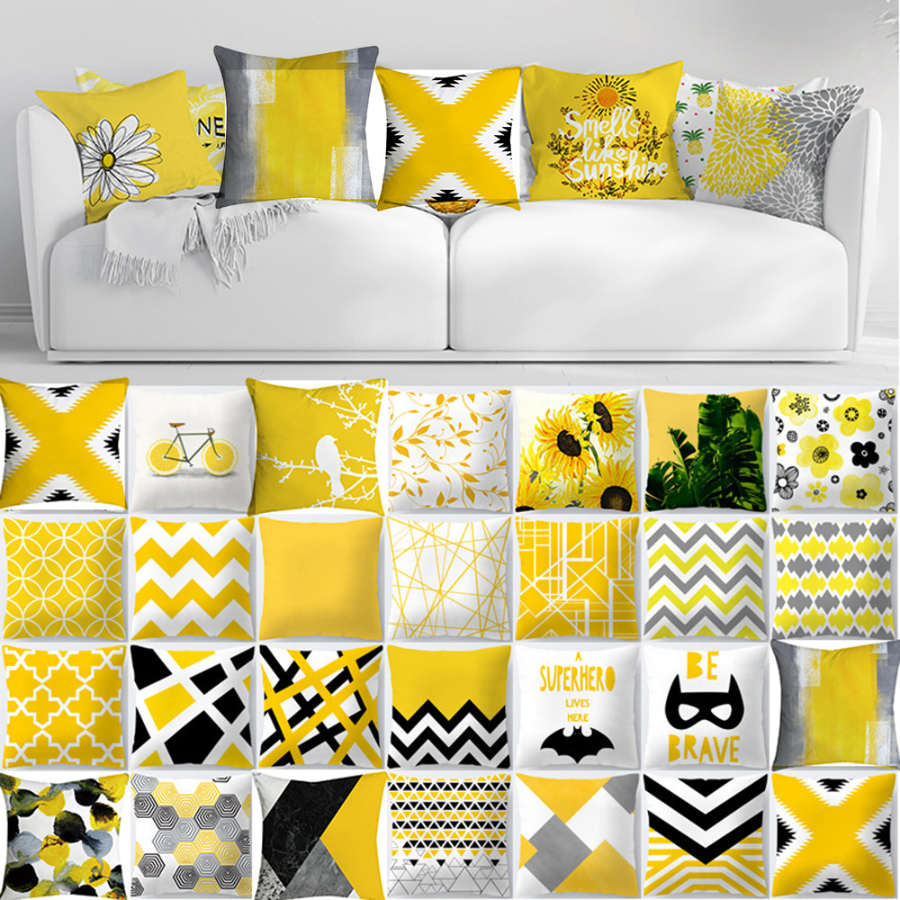 Cojines Pineapple Leaf Yellow Throw Pillow Case Sofa Car Waist Cushion Cover Home Decor Kussenhoes Housse de Coussin Pillowcases(China)