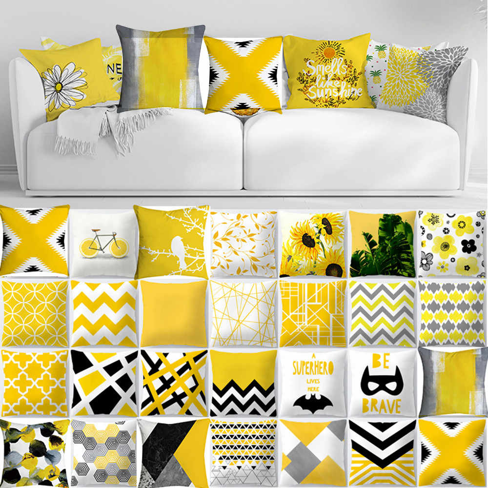 Cojines Pineapple Leaf Yellow Throw Pillow Case Sofa Car Waist Cushion Cover Home Decor Kussenhoes Housse de Coussin Pillowcases