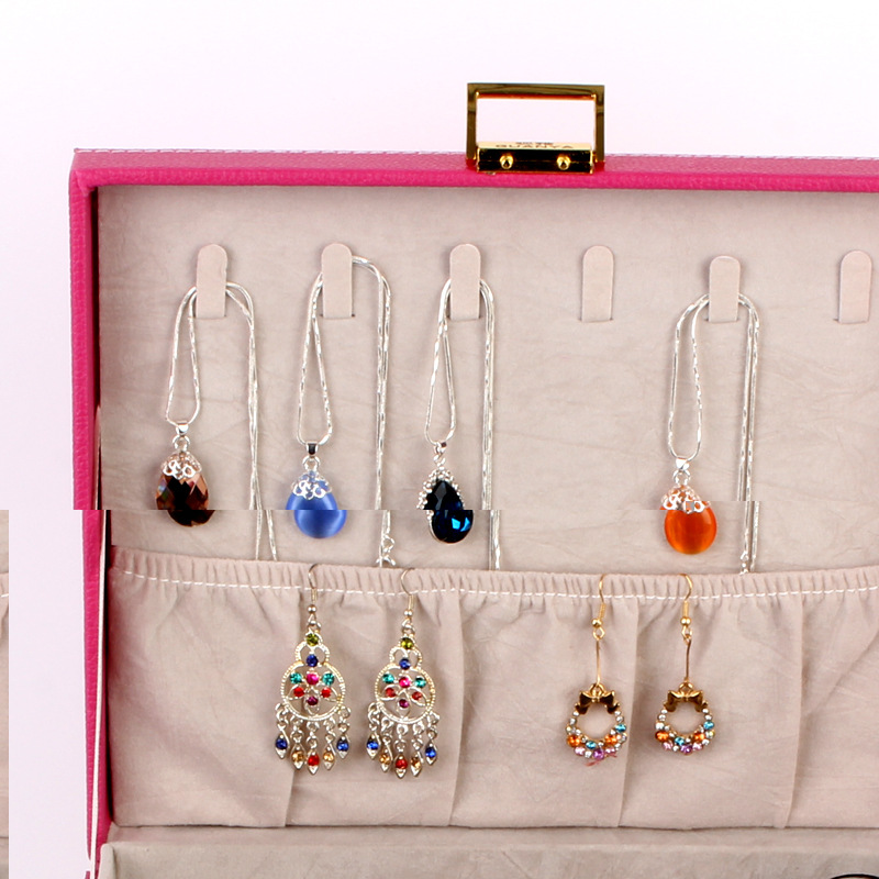 Guanya leather Jewelry Display Organizer Double Layer Finger Ring
