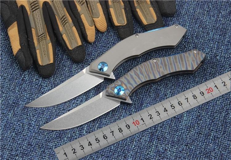 Фотография D2 balde tactical folding knife TC4 titanium handle Flipper camping huntiing survival pocket knife gift utility EDC hand tools