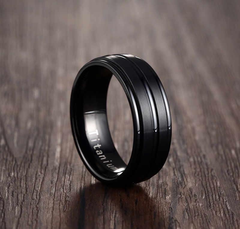 NEWBUY אופנה 8mm שחור גברים טבעת 100% טיטניום קרביד גברים של תכשיטי חתונה להקות החבר קלאסי מתנה Dropship