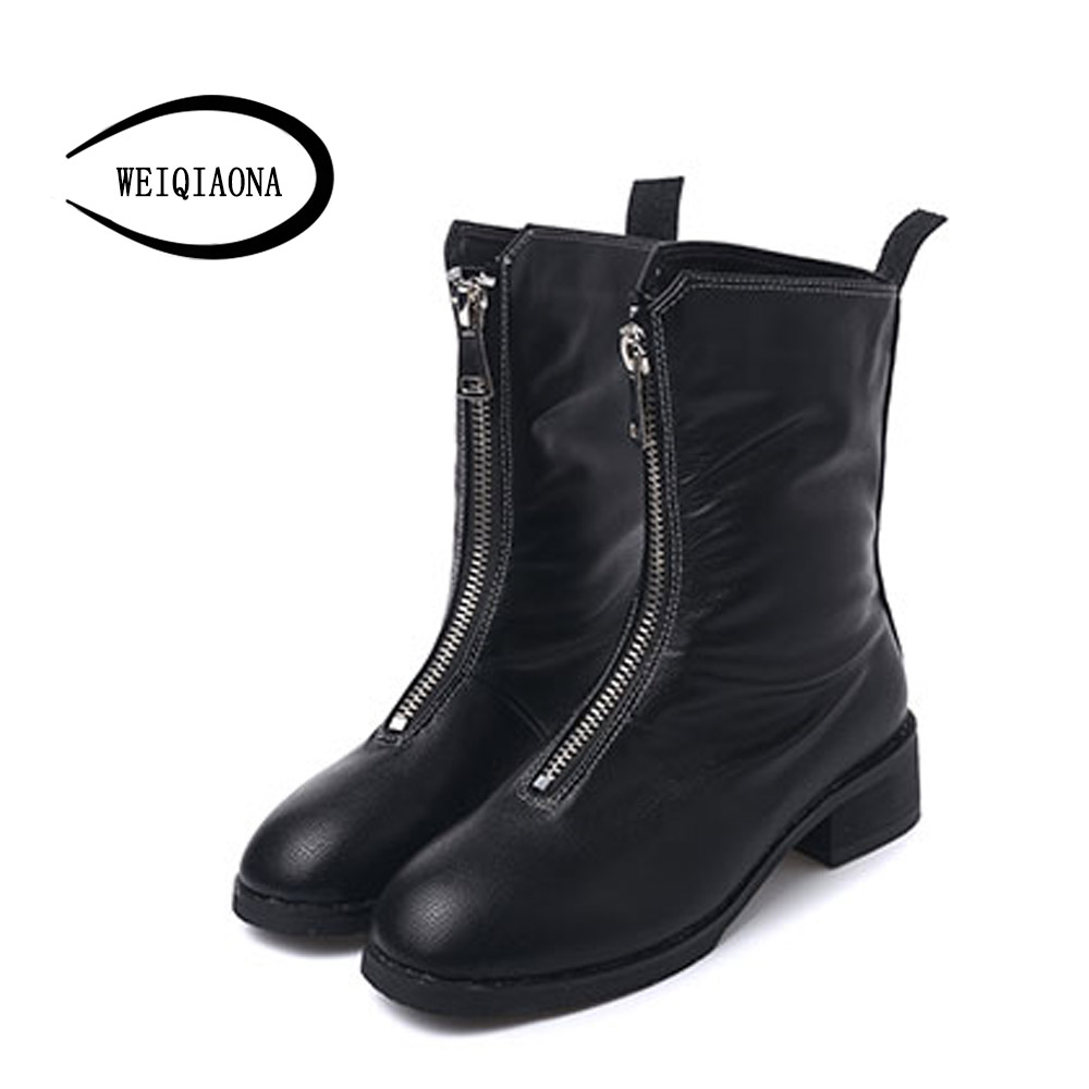 2017 new autumn and winter Front zipper Ankle Boots Martin boots Low-heels women shoes retro leather boots with a single boots 2014 new autumn and winter children s shoes ankle boots leather single boots bow princess boys and girls shoes y 451