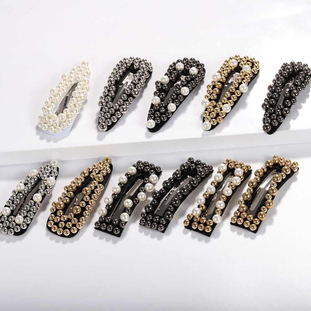 Dvacaman White&Black Pearl Hair Clip Women Personality Gold Color Beaded Hairgrips Hair Accessories Headwear Wedding Bobby Pins