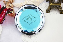 100pcs Lot Customized LOGO Blue Crystal Compact Mirrors Wedding Favor Pocket Mirror Bridal Shower For Guest