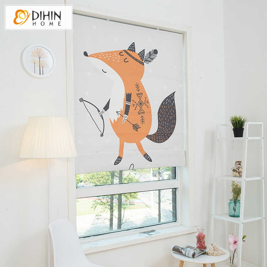 DIHIN HOME Cartoon Fox Printed Curtain Included Curtains New Arrival Thickening Roman Blind Rollor Blinds  For Living Room