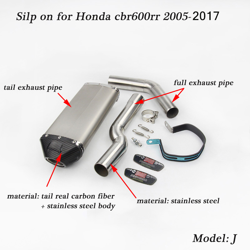 Silp on for Honda cbr600rr 2005 2017 Motorcycle Stainless Steel Front Connecting Pipe With Mid Pipe