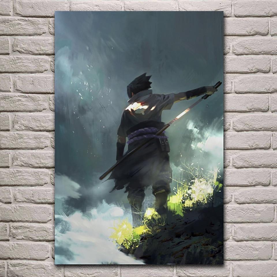 Canvas Hd Print Painting Home Decoration Anime Modular Pictures Frame 1 Piece Cartoon Naruto Sasuke Poster Living Room Wall Art