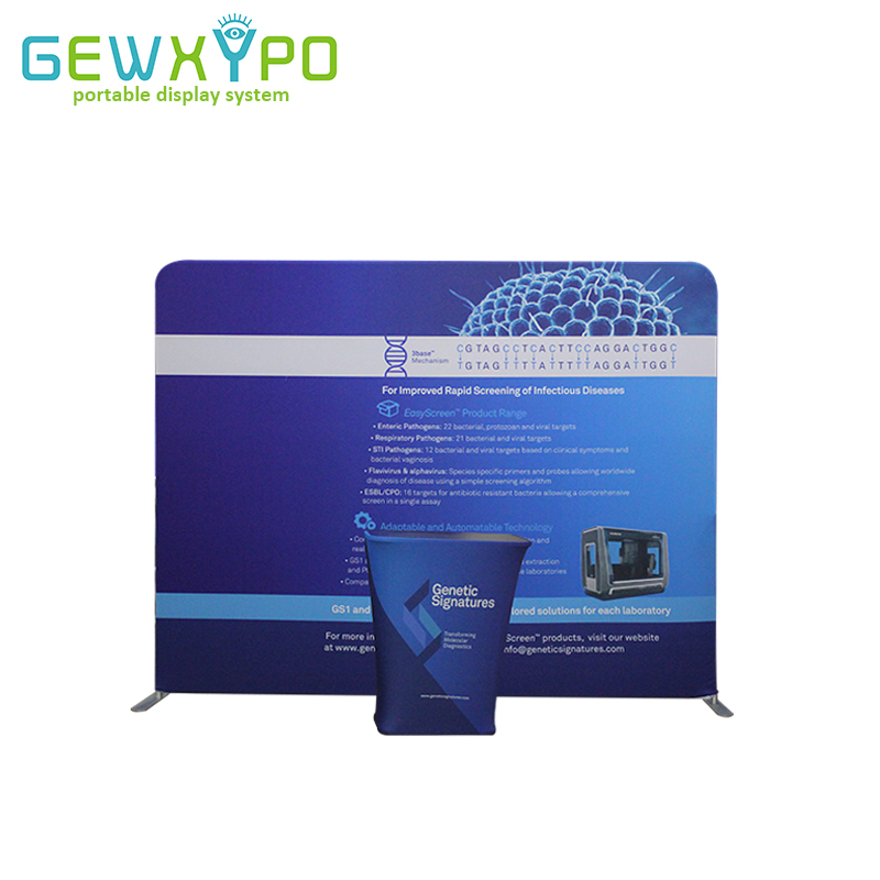 Expo Booth 10ft Pillow Case Style Straight Fabric Backdrop Stand With Single Side Printed Banner And Portable Square Bar Counter