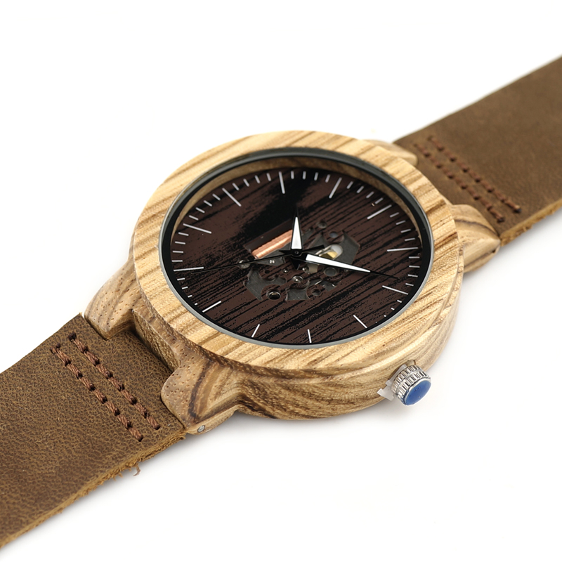 Luminous wood watches leather band (2)
