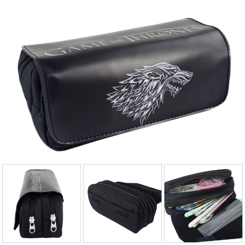 Creative Wolf pencil case Cute Large capacity Double zipper school Pen bag for kids gift office school supplies Canetas big capacity high quality canvas shark double layers pen pencil holder makeup case bag for school student with combination coded lock