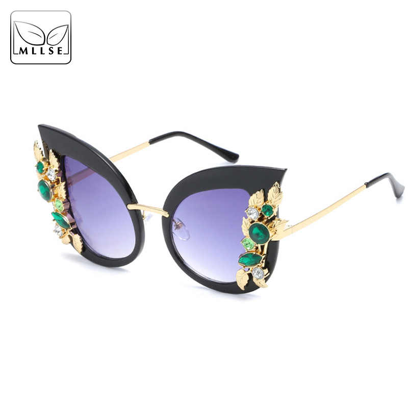 419928f7e327 MLLSE Fashion Rhinestone Oversize Cat Eye Sunglasses for Women Big Frame  Faux Jewels Sun Glasses with