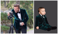 2019 Father And Son Men's Suit Blazer Green Winter Velvet Wedding Suits For Men Slim Fit Costume Homme Mariage Custom 2 Piece