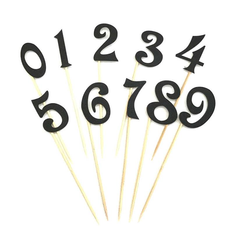 10 Uds adorno con forma de número para personalizar pastel Kit boda cumpleaños Cupcake fiesta decoraciones (0-9) oro plata brillo