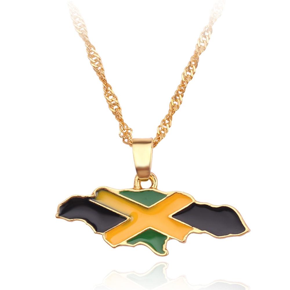 Новая карта страны, флаг, ожерелье, Африка, Гана, Liberia Undersea, Jamaica, Южная Африка, Congo, Honduras, подвеска, цепь, мужские ювелирные изделия - Окраска металла: Jamaica